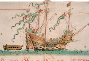 The Mary Rose as depicted in the Anthony Roll, c. 1545.